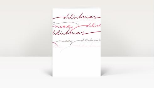weihnachtskarte merry christmas rote geschwungene lettern. Black Bedroom Furniture Sets. Home Design Ideas
