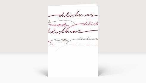Weihnachtskarte Merry Christmas rote geschwungene Lettern