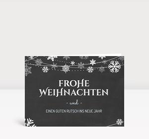 Weihnachtskarte Schneekristalle auf Kreidetafel