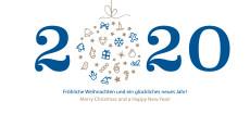 Weihnachtskarte Weihnachtskugel 2019 blau