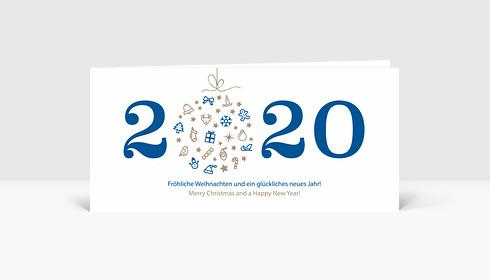 Weihnachtskarte Weihnachtskugel 2020 blau