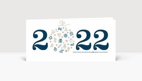 Weihnachtskarte Weihnachtskugel 2021 blau