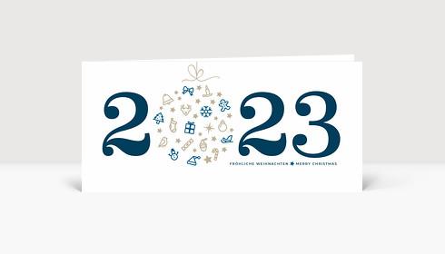 Weihnachtskarte Weihnachtskugel 2022 blau