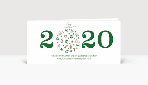 Weihnachtskarte Weihnachtskugel 2019 grün