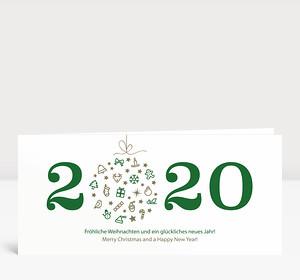 Weihnachtskarte Weihnachtskugel 2020 grün