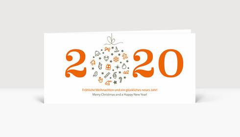 Weihnachtskarte Weihnachtskugel 2019 orange