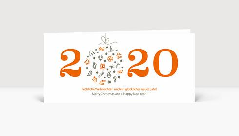 Weihnachtskarte Weihnachtskugel 2020 orange