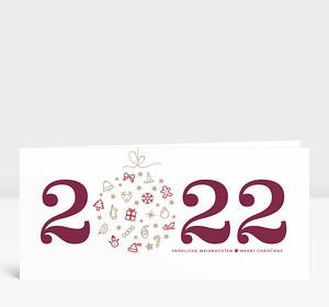 Weihnachtskarte Weihnachtskugel 2021 brombeere