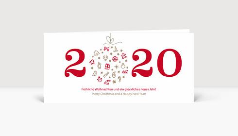 Weihnachtskarte Weihnachtskugel 2019 rot