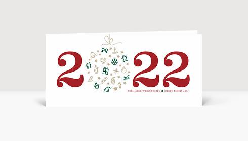 Weihnachtskarte Weihnachtskugel 2021 rot