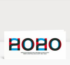 Weihnachtskarte HOHO 2019 Blau-Rot
