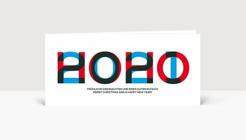 Weihnachtskarte HOHO 2020 Blau-Rot