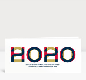 Weihnachtskarte HOHO 2020 Blau-Rot-Gold