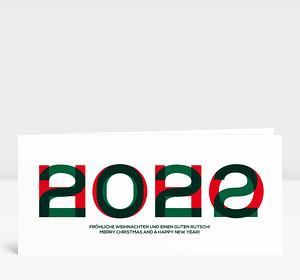 Weihnachtskarte HOHO 2022 Rot-Grün