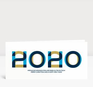 Weihnachtskarte HOHO 2020 Blau-Gold