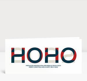 Weihnachtskarte HOHO 2021 Blau-Rot-Warmgrau