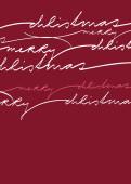 Weihnachtskarte Geschwungene Lettern auf rot