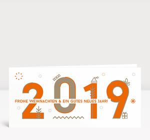 Weihnachtskarte 2019 Memphis-Style Orange
