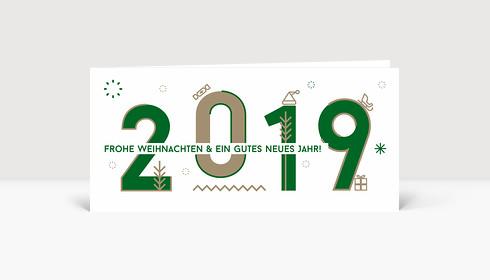 Weihnachtskarte 2019 Memphis-Style Grün