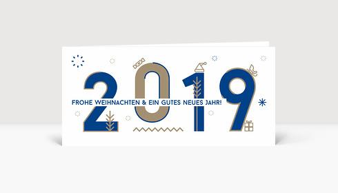 Weihnachtskarte 2019 Memphis-Style Blau