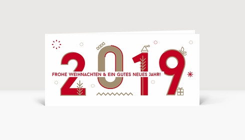 Weihnachtskarte 2019 Memphis-Style Rot