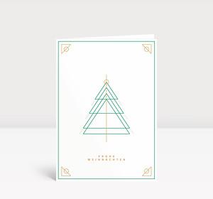 Weihnachtskarte Weihnachtsbaum Outlines Grün