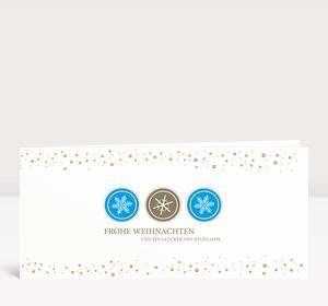 Weihnachtskarte Schneeflocken Icons Blau