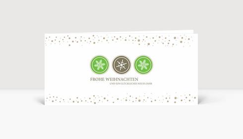 Weihnachtskarte Schneeflocken Icons Grün