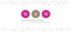 Weihnachtskarte Schneeflocken Icons Pink