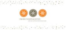 Weihnachtskarte Schneeflocken Icons Orange