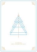 Weihnachtskarte Weihnachtsbaum Outlines Blau