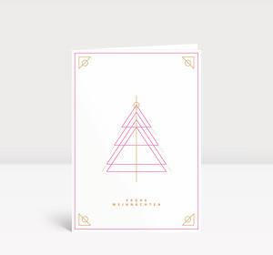 Weihnachtskarte Weihnachtsbaum Outlines Pink