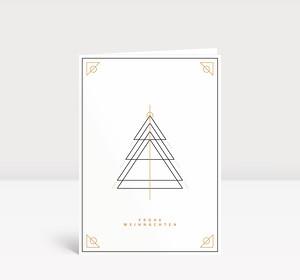 Weihnachtskarte Weihnachtsbaum Outlines Gold-Schwarz