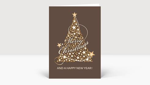 Weihnachtskarte Merry Christmas Baum Schleifen mit Sternen auf brauner Karte