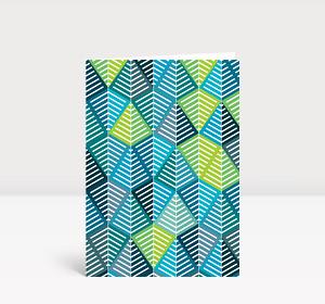 Weihnachtskarte Geometrische Weihnachtsbäume Blau, Türkis Grün