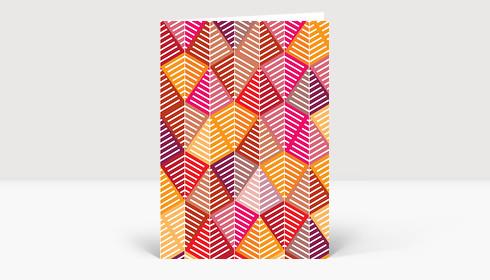 Weihnachtskarte Geometrische Weihnachtsbäume Rot, Orange Pink
