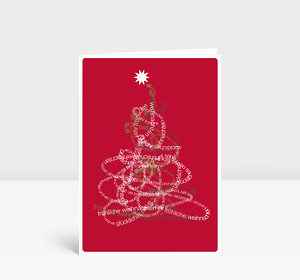 Weihnachtskarte Typobaum auf rot
