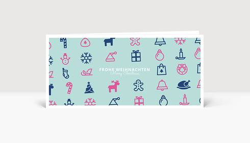Weihnachtskarte Christmas Pop Pink