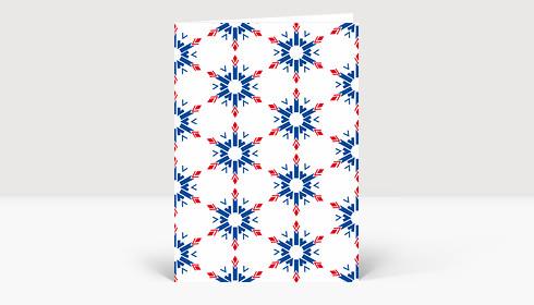 Weihnachtskarte Strohsterne Geometrisch Blau-Rot