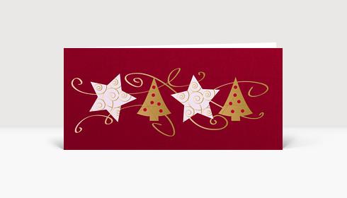 Weihnachtskarte Sterne und Bäume mit Schleifen auf rot