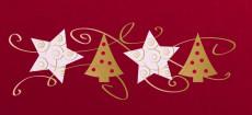 Weihnachtskarte Sterne & Bäume rot