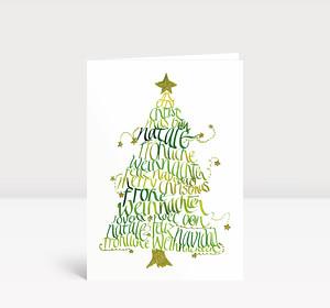 Weihnachtskarte Internationale Weihnachtsgrüße Grün