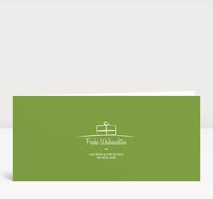 Weihnachtskarte Geschenk-Paket Grün