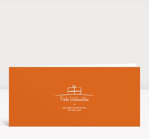 Weihnachtskarte Geschenk-Paket Orange