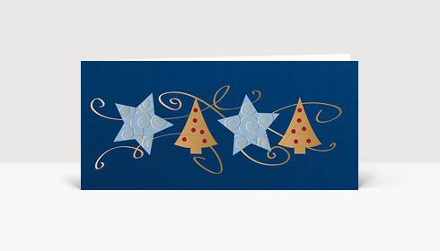Weihnachtskarte Sterne und Bäume mit Schleifen auf blau