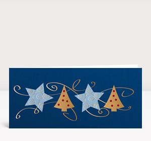 Weihnachtskarte Sterne & Bäume blau