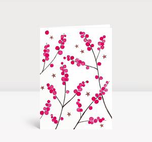 Weihnachtskarte Weihnachtsbeeren Pink