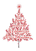 Weihnachtskarte Weihnachtsbaum Rot