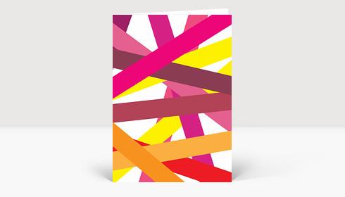 Weihnachtskarte BÄNG! FARBE! Geschenkbänder in Rot-, Magenta- und Gelbtönen