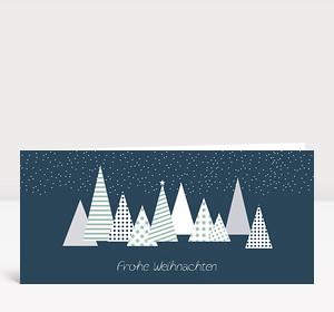 Weihnachtskarte Moderner Tannenwald Blau